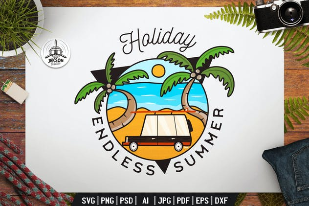 Summer Holiday Label. Beach Badge Design with Palm