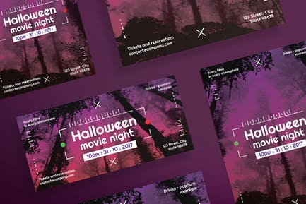 Halloween Movie Night Flyer and Poster Template
