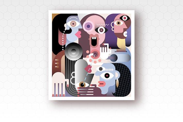 Thumbnail for вектор иллюстрация большого семейства