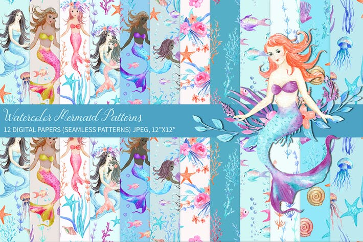 Thumbnail for Watercolor Mermaid Digital Paper