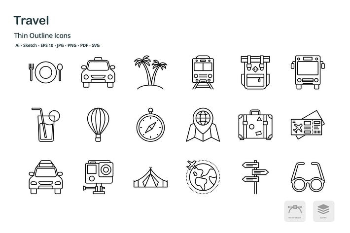 Thumbnail for Travel and transportation thin outline icons