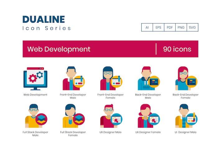 90 Web Development Icons - Dualine Flat Series
