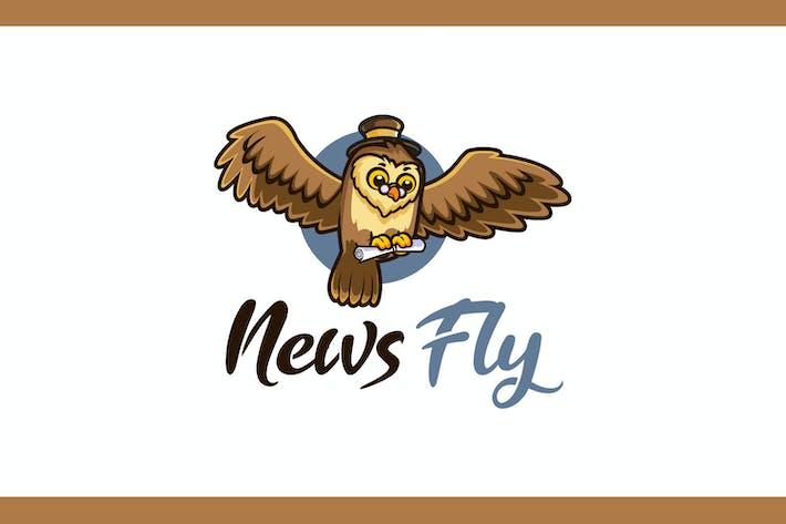 Thumbnail for Cartoon News Fly Mascot Logo