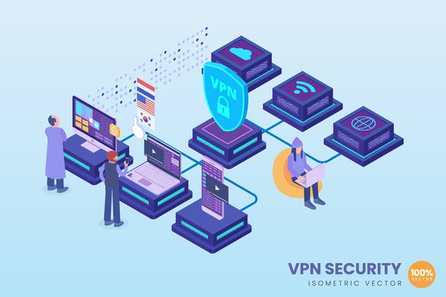 Isometric VPN Security Concept