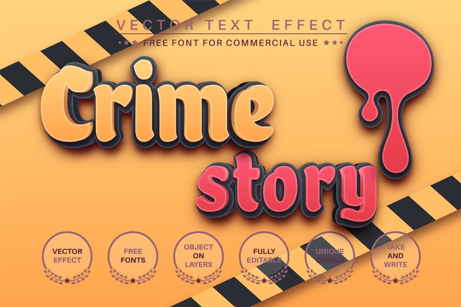 Crime story - editable text effect, font style