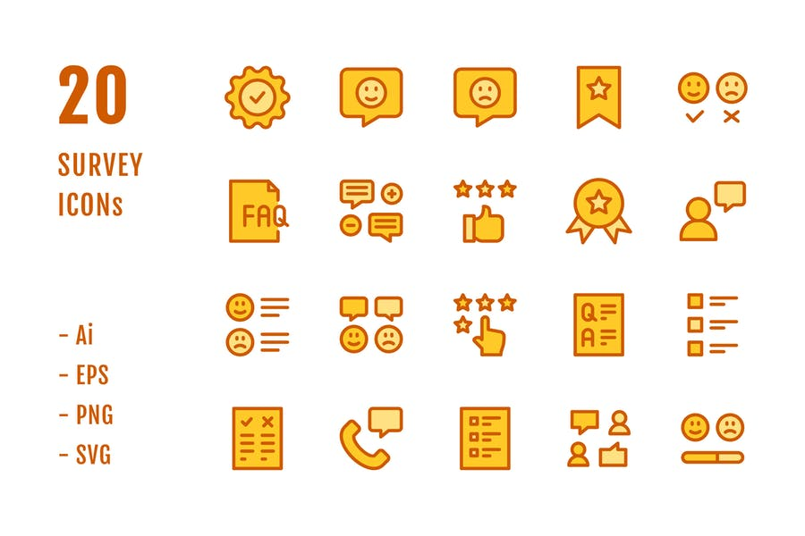 20 Survey Icons (Lineal Color)