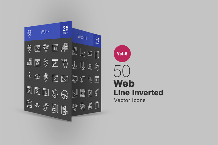 Thumbnail for 50 Web Line Inverted Icons