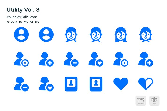 Thumbnail for Utility Vol. 3 Roundies Solid Glyph Icons