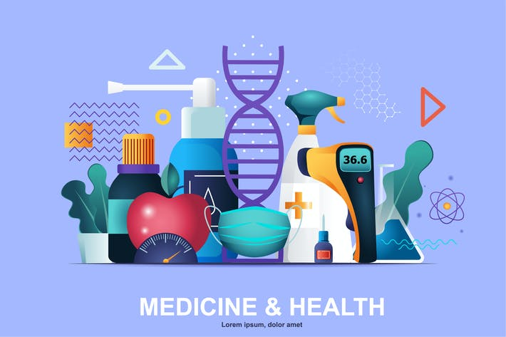 Thumbnail for Medicine Flat Concept Vector Illustration