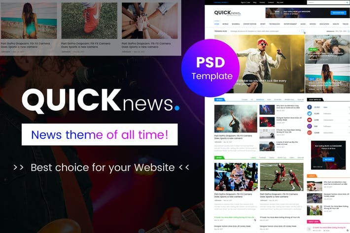 Thumbnail for Quicknews - Blog, Magazine & News PSD Template