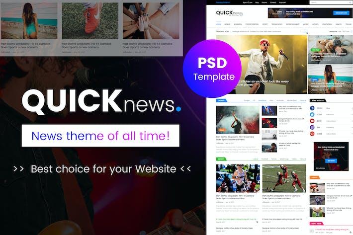 Cover Image For Quicknews - Blog, Magazine & News PSD Template
