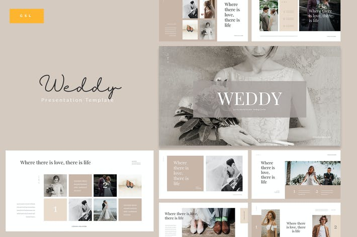 Thumbnail for Weddy - Creative Wedding Google Slides Template