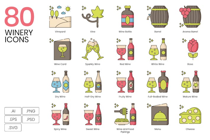 Thumbnail for 80 Winery Line Icons