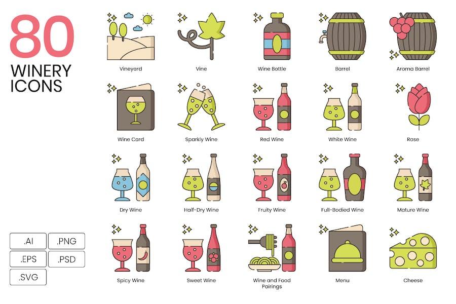 80 Weingut Linie Icons