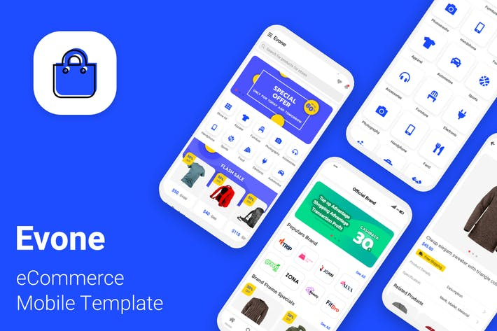Cover Image For Evone - eCommerce Shop & Store Mobile Template