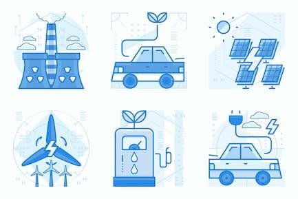 Energy and Ecology UI UX Illustrations