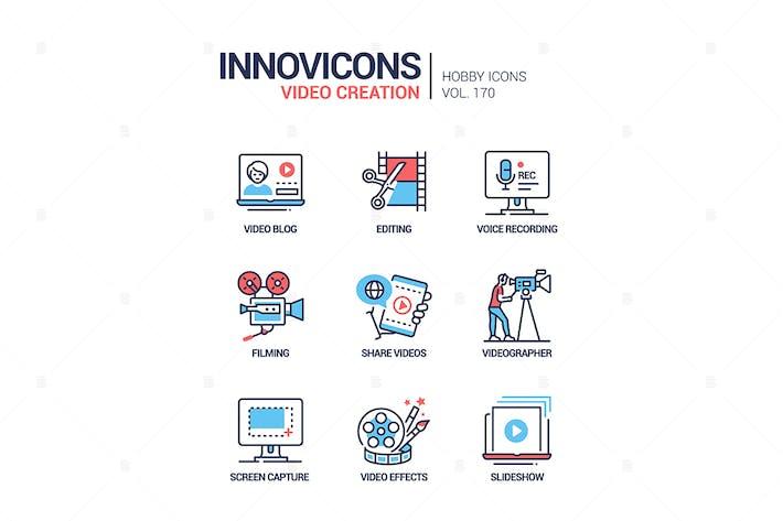 Video erstellung - Liniendesign Stil Icons gesetzt