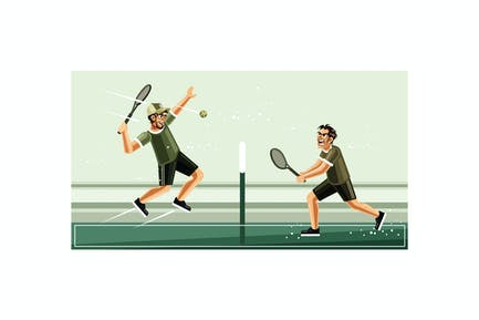 Tennis Match Graphics Vector Illustration