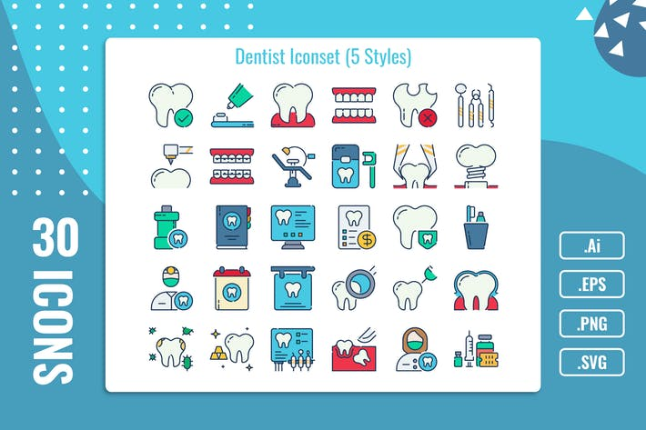 Thumbnail for 30 Iconset Dentiste avec 5 styles variante