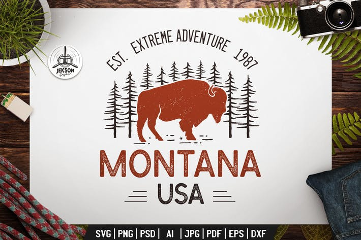 Thumbnail for Montana USA Emblem Adventure Logo SVG Retro Design