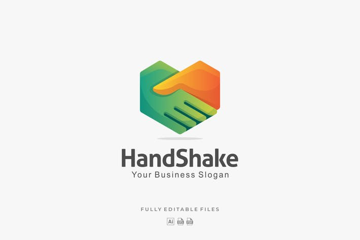 Thumbnail for Abstract Hand Shake Gradient Logo Template