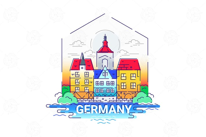Thumbnail for Germany - modern vector line travel illustration