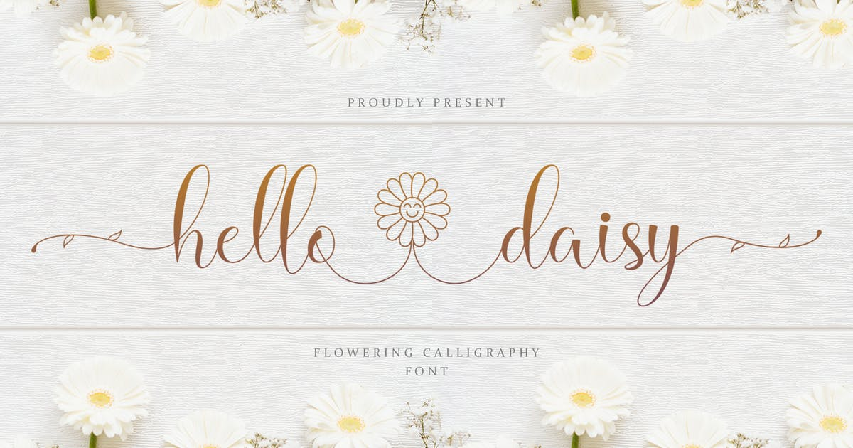 Download Hello Daisy -  flowering calligraphy font, by kidsdesign