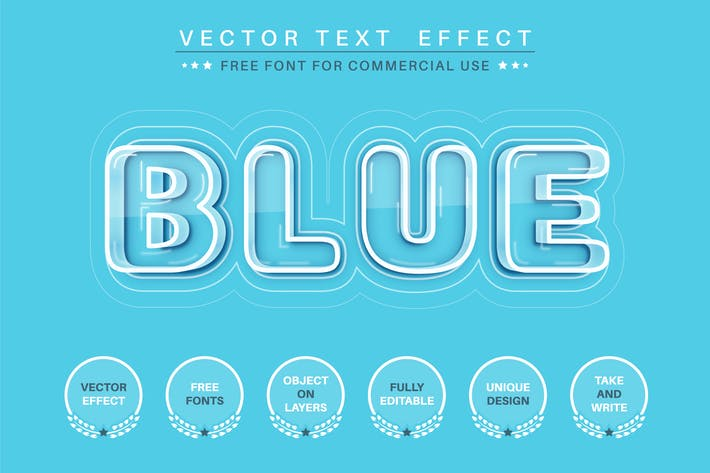 Blue glass - editable text effect,  font style