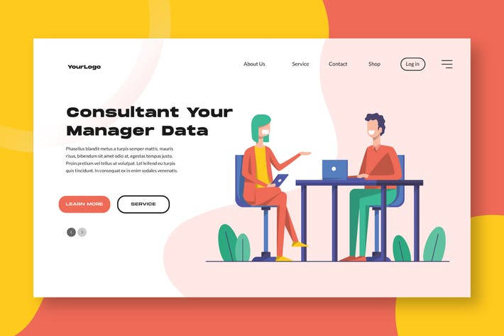 Thumbnail for Consultan Manager Landing Page / Apps Illustration