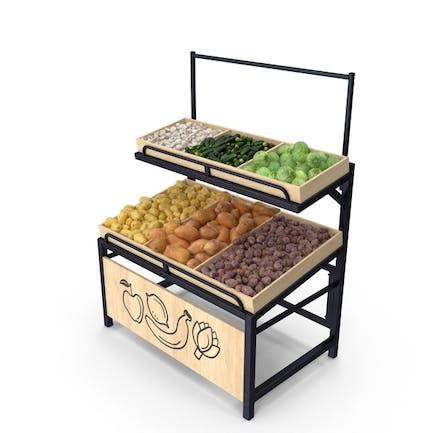 Wooden Display Rack With Vegetables