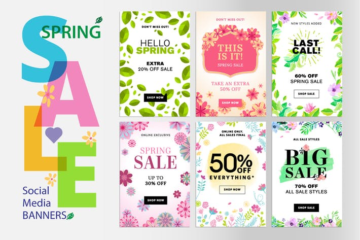 Cover Image For Spring sale banners