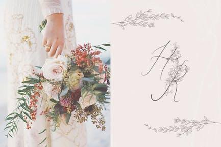 Flowered Monograms, Handwritten Uppercase Alphabet