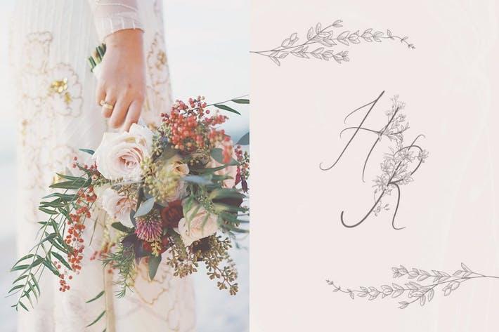 Thumbnail for Flowered Monograms, Handwritten Uppercase Alphabet