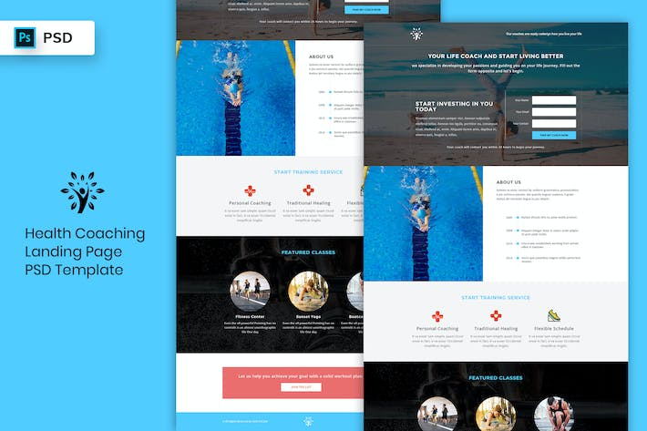 Thumbnail for Health Coaching - Landing Page PSD Template