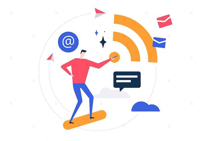 Thumbnail for Free wifi - flat design style illustration
