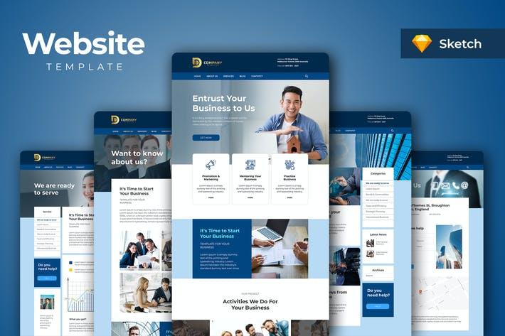 Thumbnail for Corporate Business Website Sketch Templates