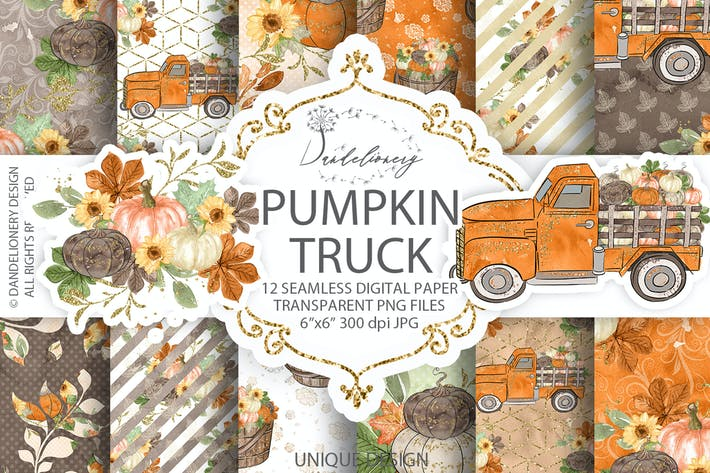 Thumbnail for Pumpkin Truck digital paper pack