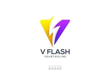 V Flash Bolt Logo