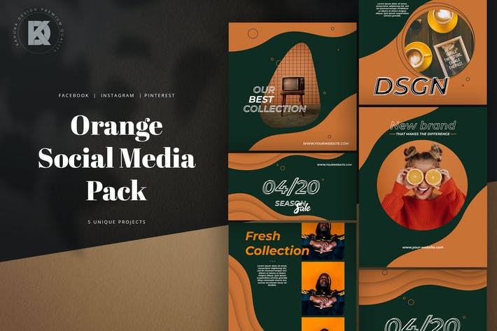 Orange Lively Social Media Pack