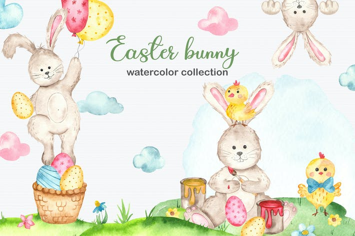 Thumbnail for Watercolor Easter Bunny collection