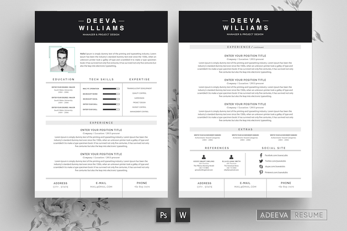 Thumbnail for Professional Resume Template William