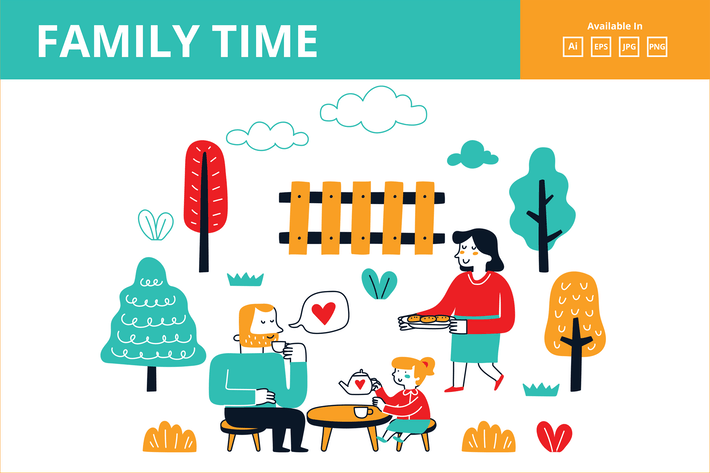 Thumbnail for Family time tea party doodle illustration