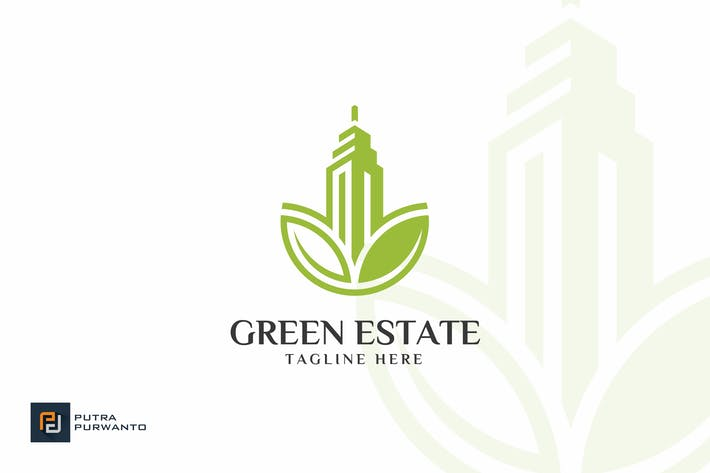 Cover Image For Green Estate / Building - Logo Template