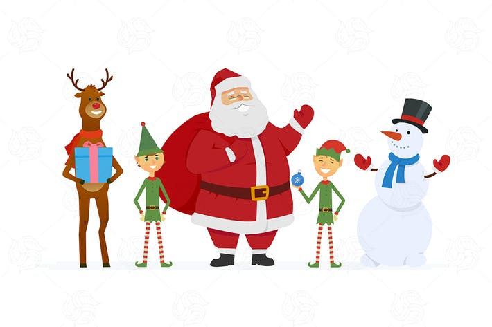 Thumbnail for Santa and friends - vector illustration