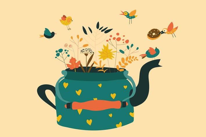 Thumbnail for Cute teapot with autumn herbs and birds