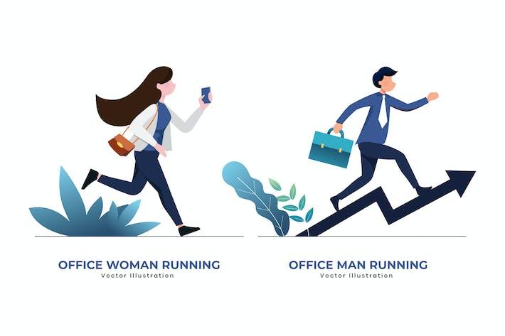 Thumbnail for Büro Frau & Mann laufen Vektor illustration