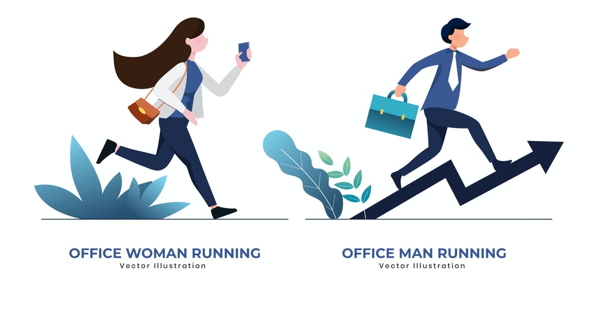 Download Office woman & man running vector illustration by YummyDs