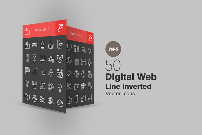 Thumbnail for 50 Digital Web Line Inverted Icons