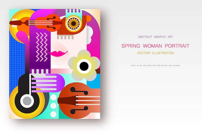 Thumbnail for Spring Woman's Portrait vector illustration