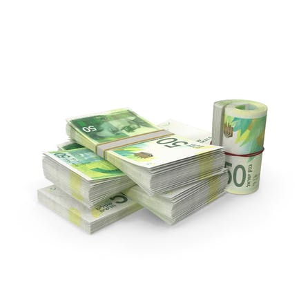 Kleiner Haufen israelischer Schekel-Stacks